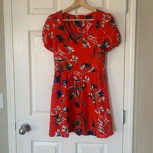 Topshop red floral cap sleeve dress